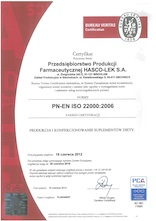 ISO 22000:2006 Certificate